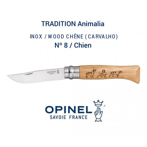 Opinel Tradition gravés nº8 Chien