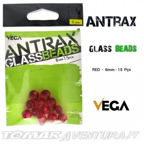 Vega Antrax Glass Beads Red