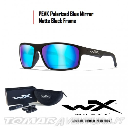 Oculos Polarizados Wiley X Peak - Blue Mirror Mate Black Frame